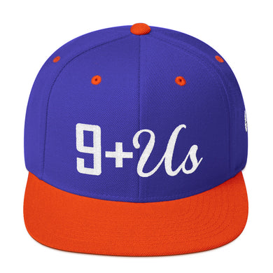 9+US Snapback Baseball Hat - Royal/Orange