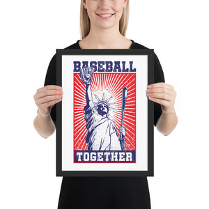 Lady Liberty Baseball Together Framed Print - 12 x 16