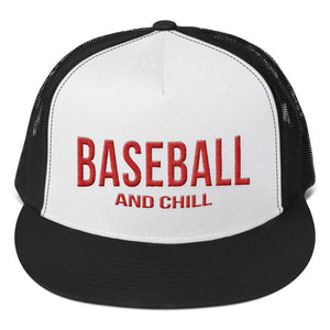 Baseball and Chill Trucker Cap - Black/White