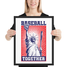 Load image into Gallery viewer, Lady Liberty Baseball Together Framed Print - 16 x 20