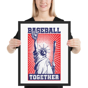 Lady Liberty Baseball Together Framed Print - 16 x 20