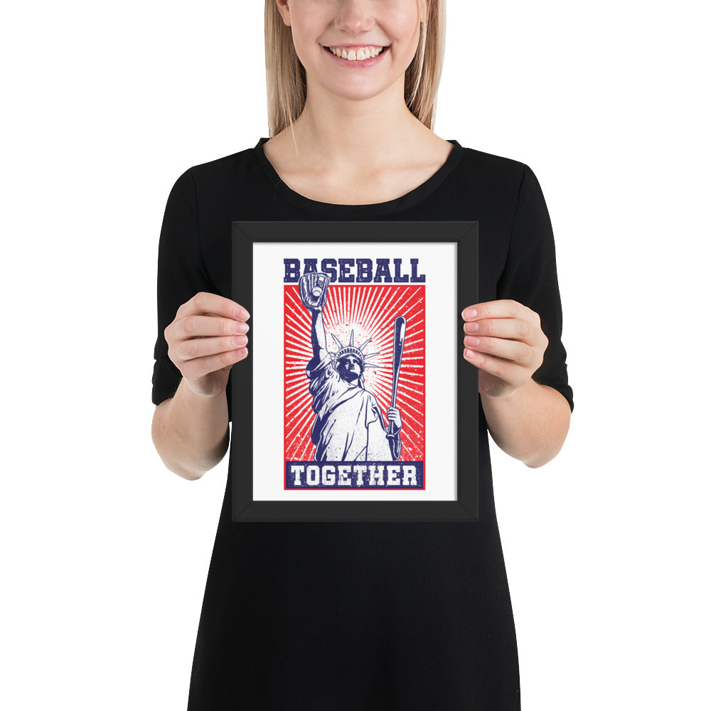 Lady Liberty Baseball Together Framed Print - 8 x 10