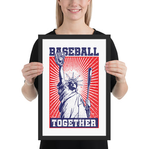 Lady Liberty Baseball Together Framed Print - 12 x 18