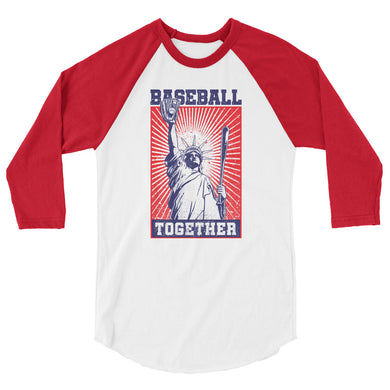 Lady Liberty Raglan - White/Red