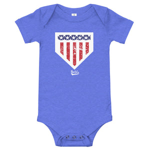 Home of the Brave Onesie - Heather Columbia Blue