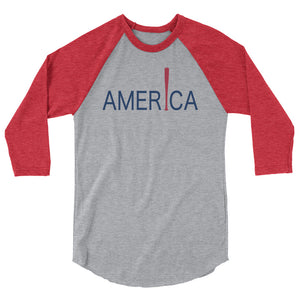 'Merica Raglan - Heather Grey/Heather Red