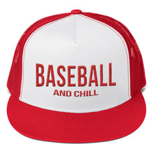 Load image into Gallery viewer, Baseball and Chill Trucker Cap - Red/White
