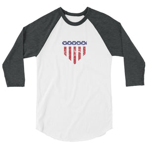 Home of the Brave Raglan - White/Heather Charcoal