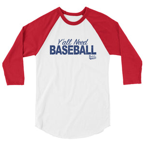 Y'all Need Baseball Baseball Tee - White/Red