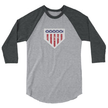 Load image into Gallery viewer, Home of the Brave Raglan - Heather Grey/Heather Charcoal