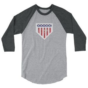 Home of the Brave Raglan - Heather Grey/Heather Charcoal