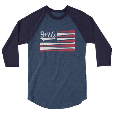 Bat Flag Raglan - Heather Denim/Navy