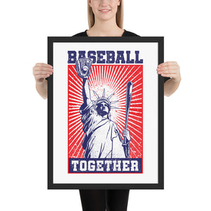 Lady Liberty Baseball Together Framed Print - 18 x 24