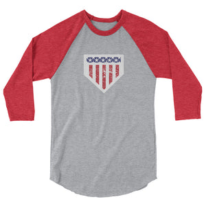 Home of the Brave Raglan - Heather Grey/Heather Red