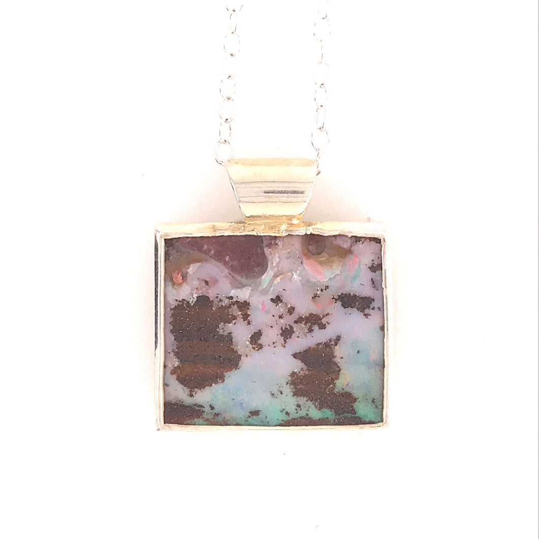 Pink Pools and Blue Opal Pendant Necklace