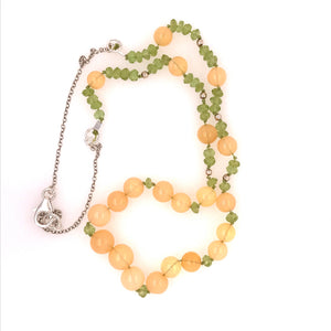 Peaches and Green Ethiopian and Peridot necklace