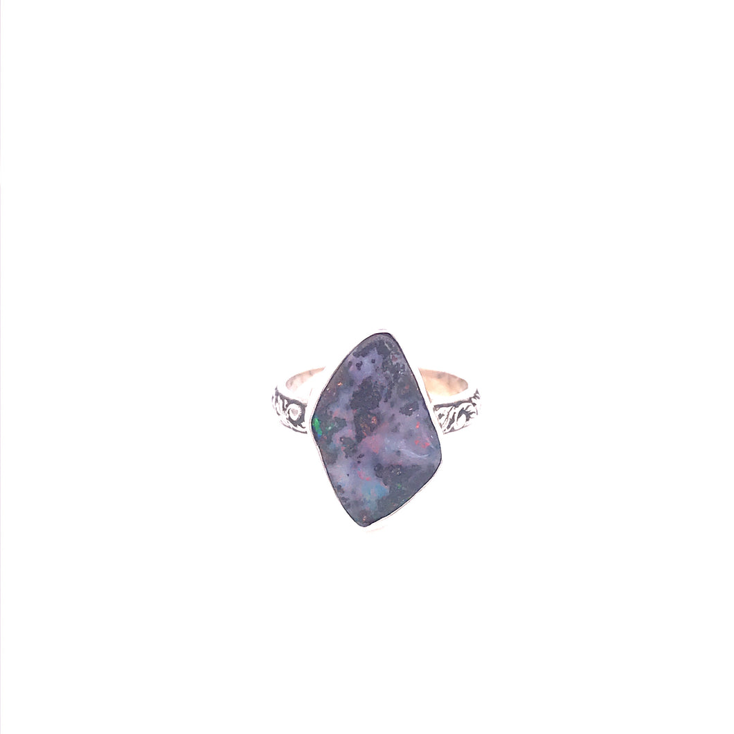 Feel the Pink Boulder Opal Ring