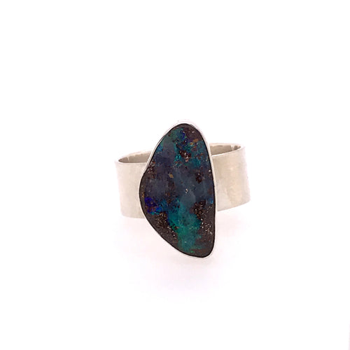 Earthy Blue and Brown Opal Ring