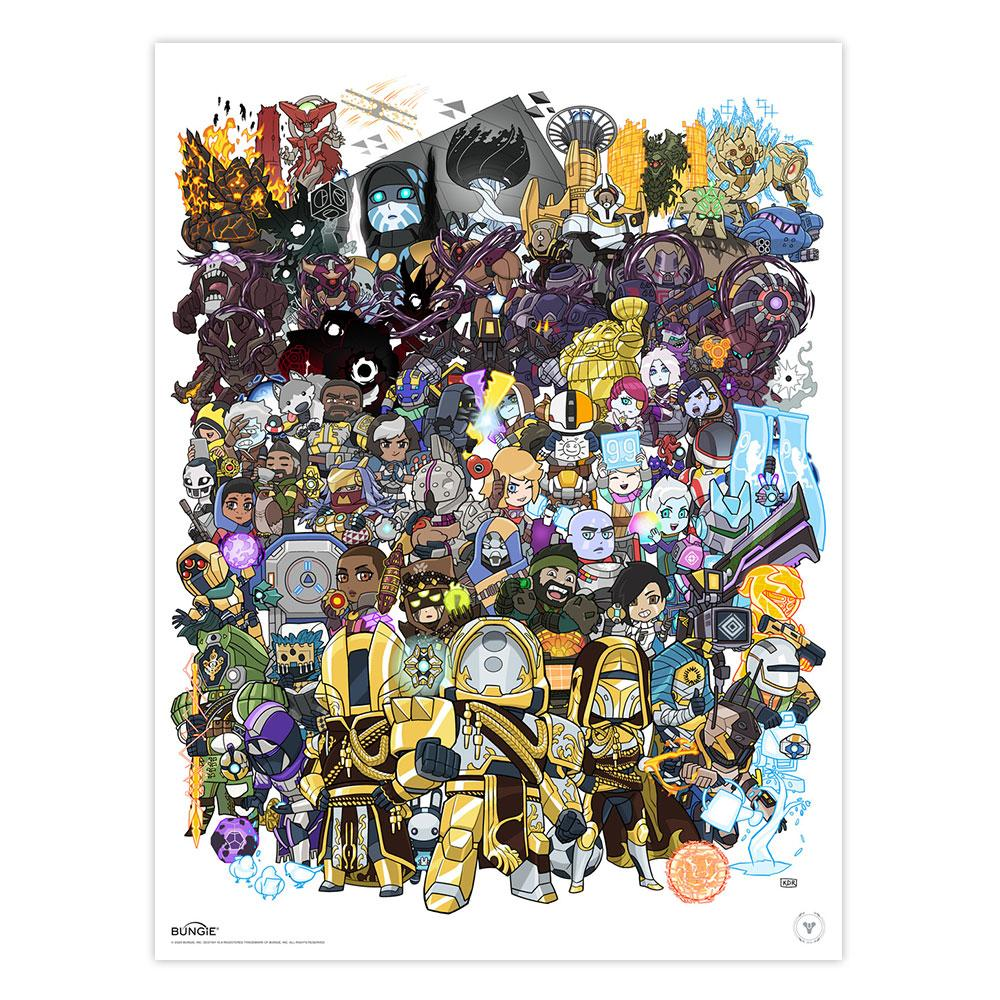 "PREORDER: ""Familiar Faces"" A Destiny Birthday Poster by Kevin Raganit"