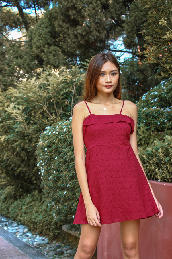 [BACKORDER] The Go To Eyelet Dress (Wine Red)