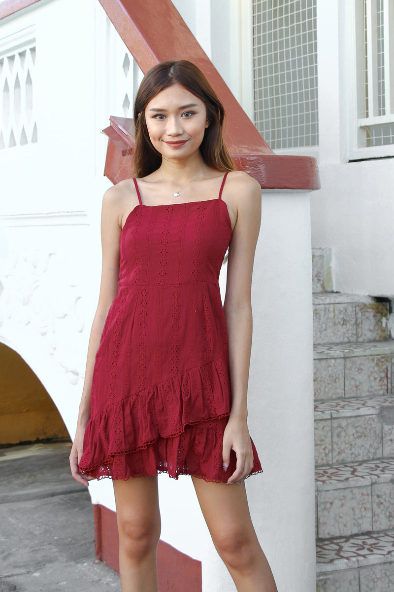 Baby Girl Ruffle Dress (Wine Red)