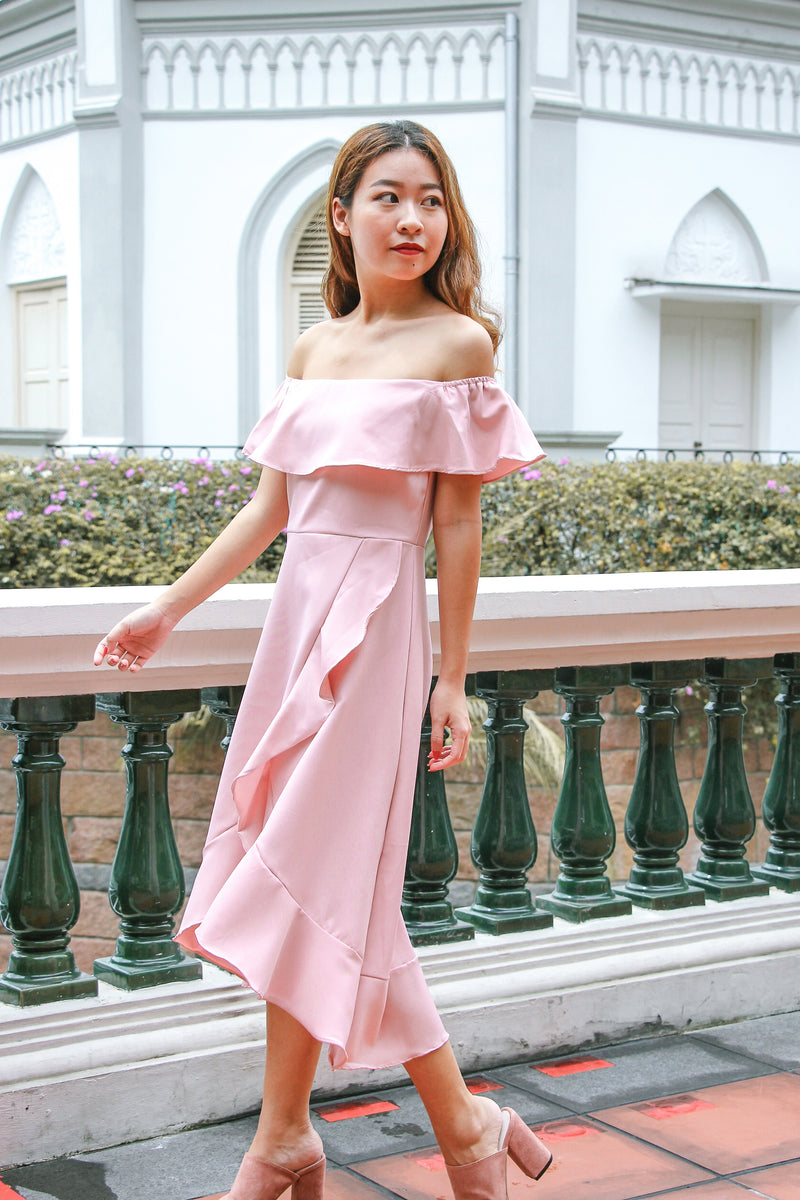 Rach Ruffle Off Shoulder Dress (Sweet PInk)