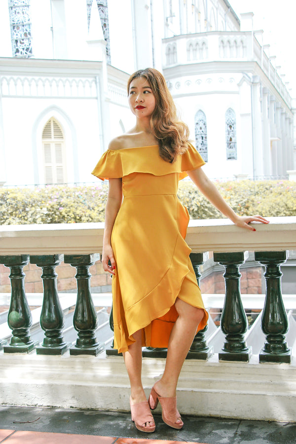 Rach Ruffle Off Shoulder Dress (Butter Corn)