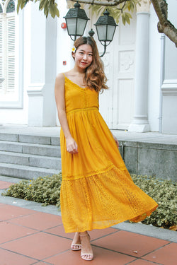 Lace Season Maxi Dress (Mustard)