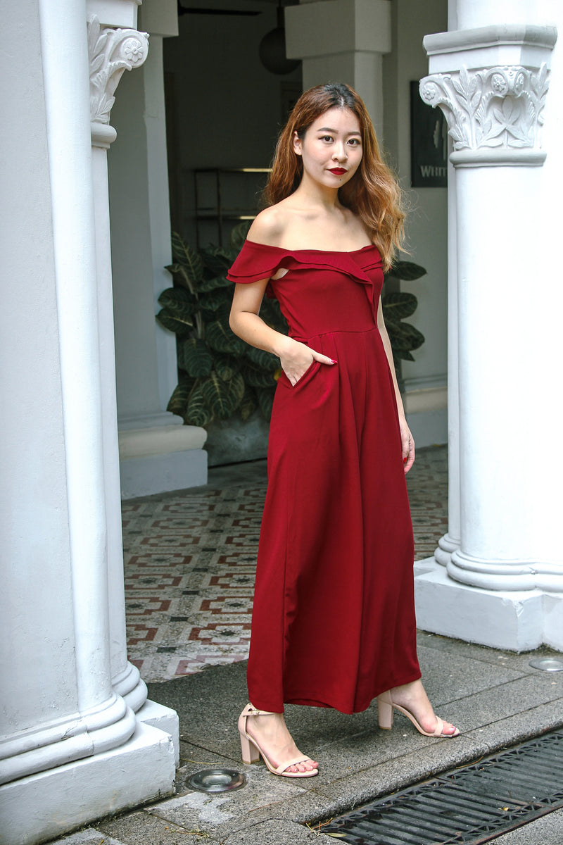 Josephine Off The Shoulder Jumpsuit (Maroon)