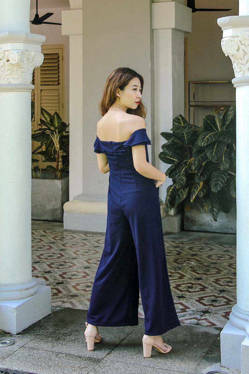 Josephine Off The Shoulder Jumpsuit (Navy)