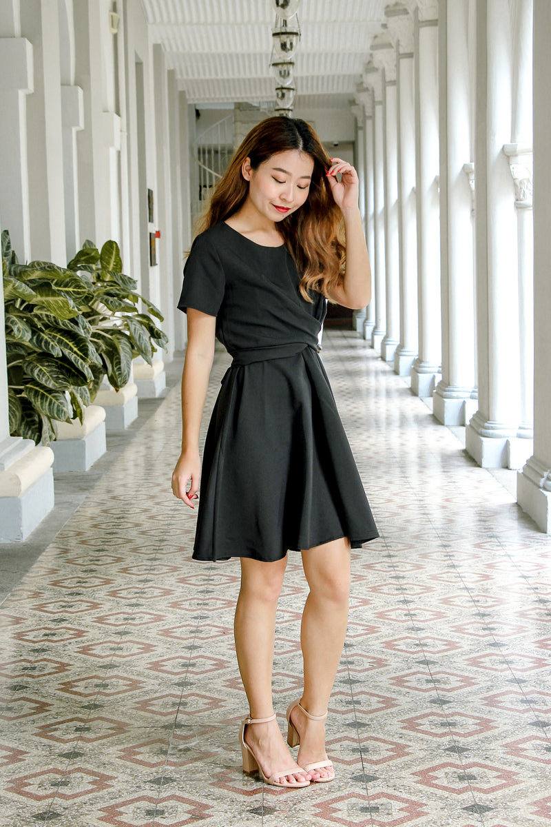 Karlie Twist Front Dress (Black)