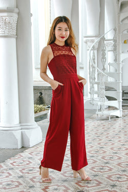Helene Lace Panel Jumpsuit (Maroon)