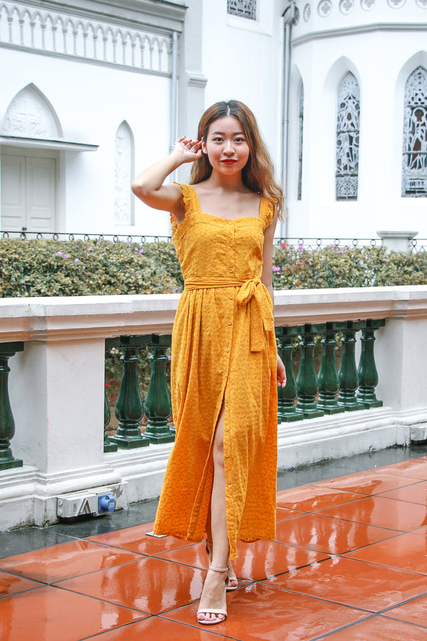 Best Of Luck Eyelet Maxi Dress (Butter Corn)