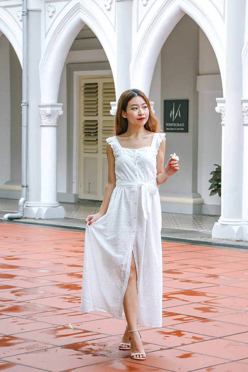 Best Of Luck Eyelet Maxi Dress (White)