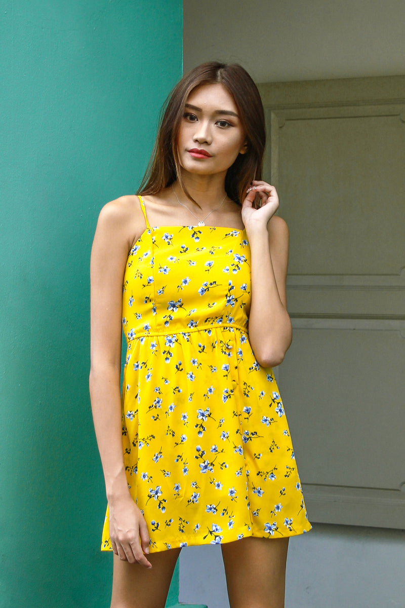 In Place Button Romper Dress (Yellow)