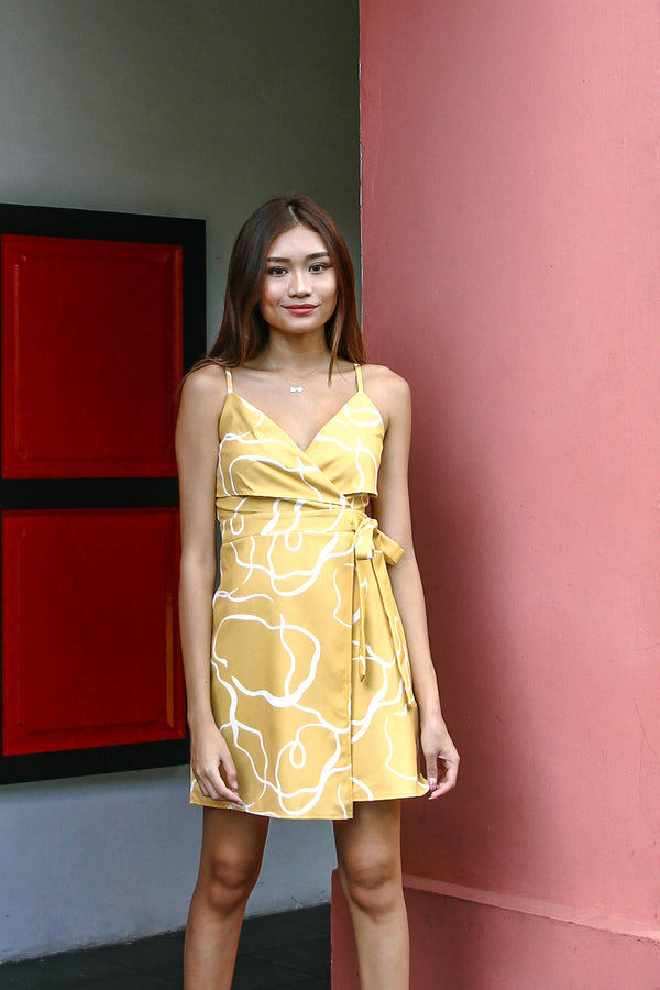 Paintwork Abstract Dress (Yellow)