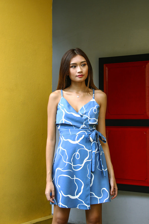 Paintwork Abstract Dress (Blue)