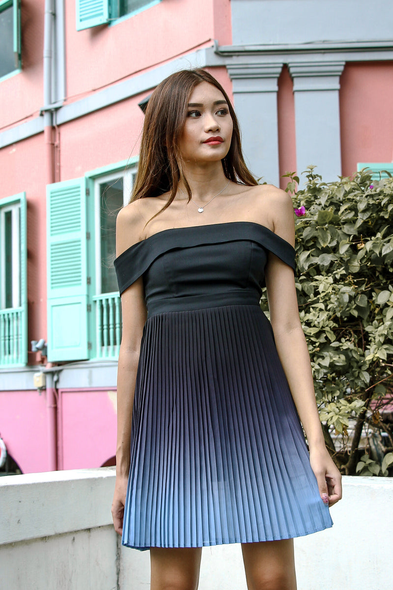 Ombre In Pleats Dress (Dark)