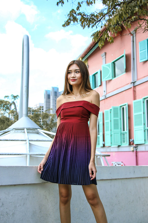 Ombre In Pleats Dress (Wine)