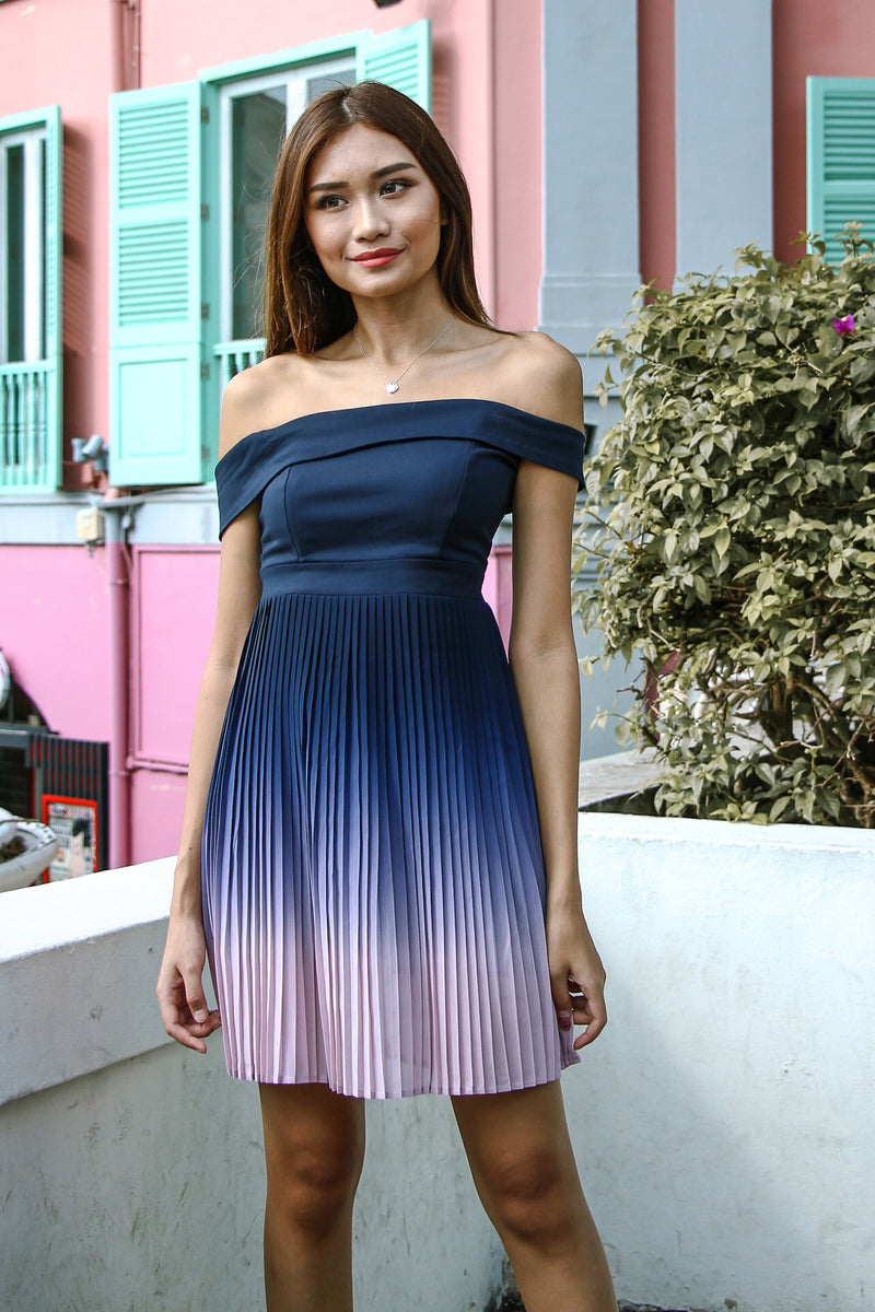 Ombre In Pleats Dress (Midnight)