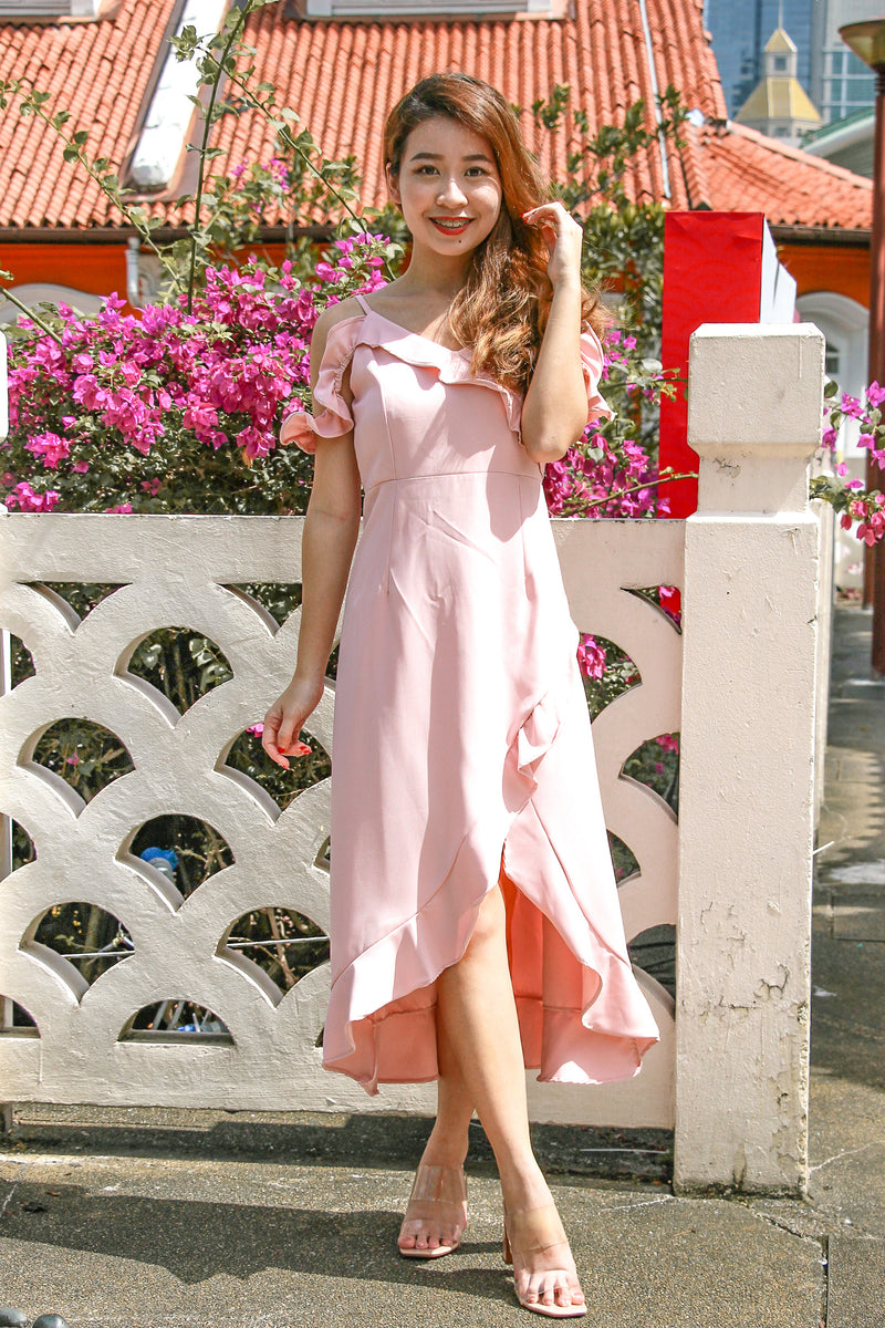 Lizbeth Cold Shoulder Dress (Sweet Pink)