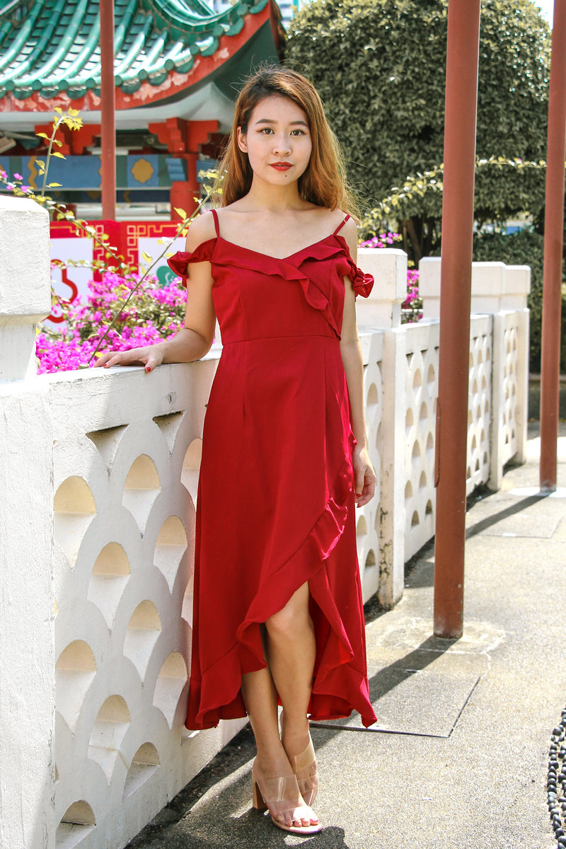 Lizbeth Cold Shoulder Dress (Lucky Red)