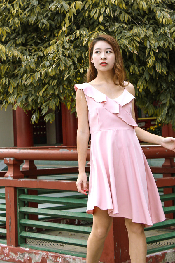 Jess Ruffle Mini Dress (Sweet Pink)