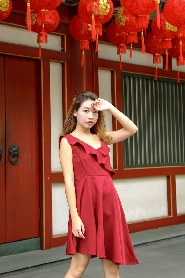 Jess Ruffle Mini Dress (Lucky Red)