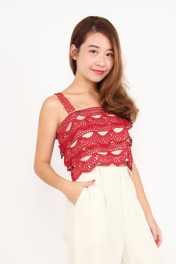 Crochet And Layered Top (Red)
