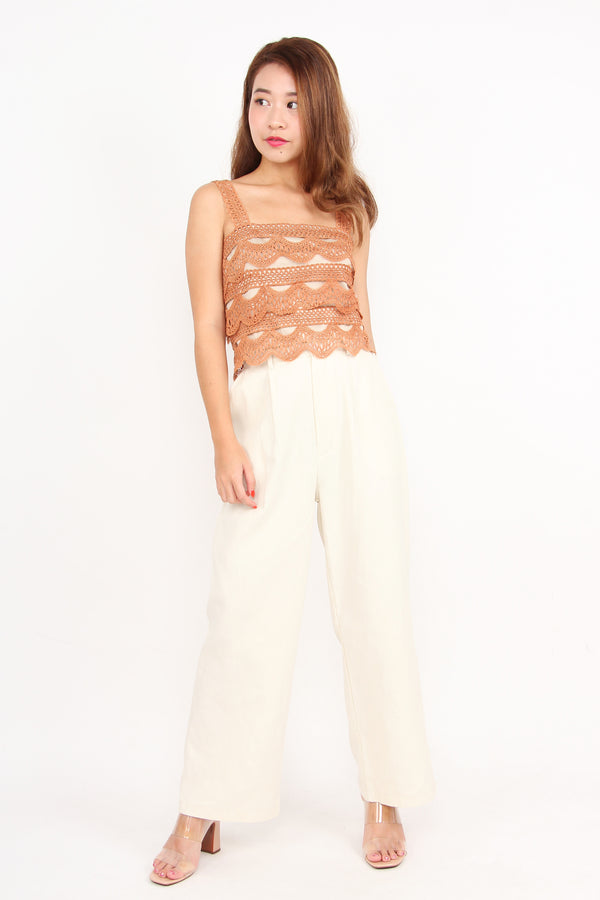 Crochet And Layered Top (Camel)