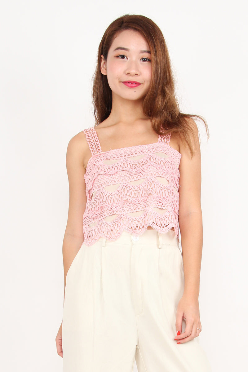 Crochet And Layered Top (Pink)
