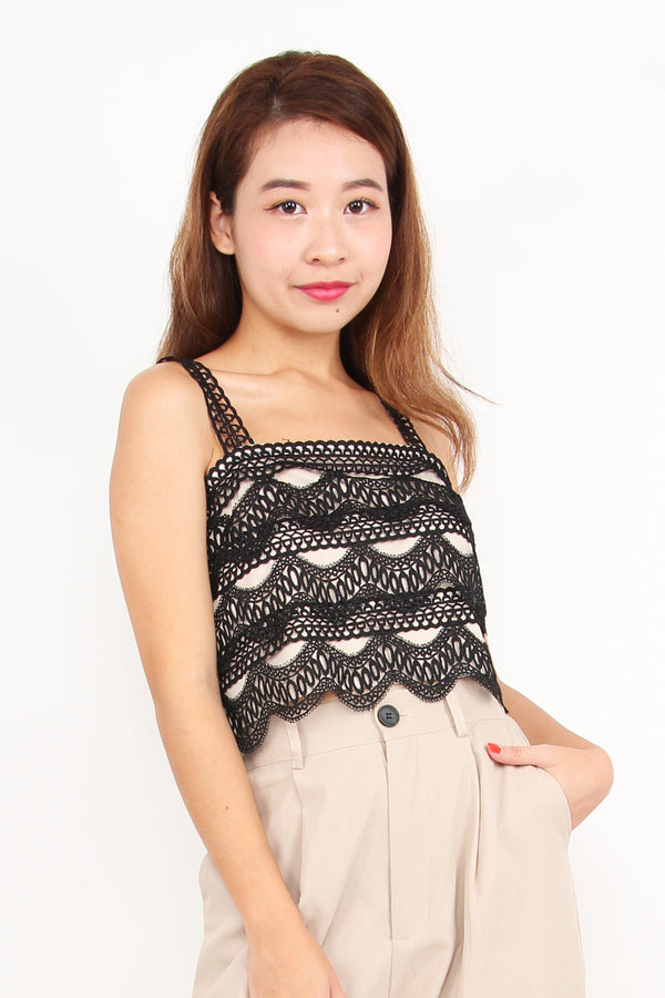 Crochet And Layered Top (Black)