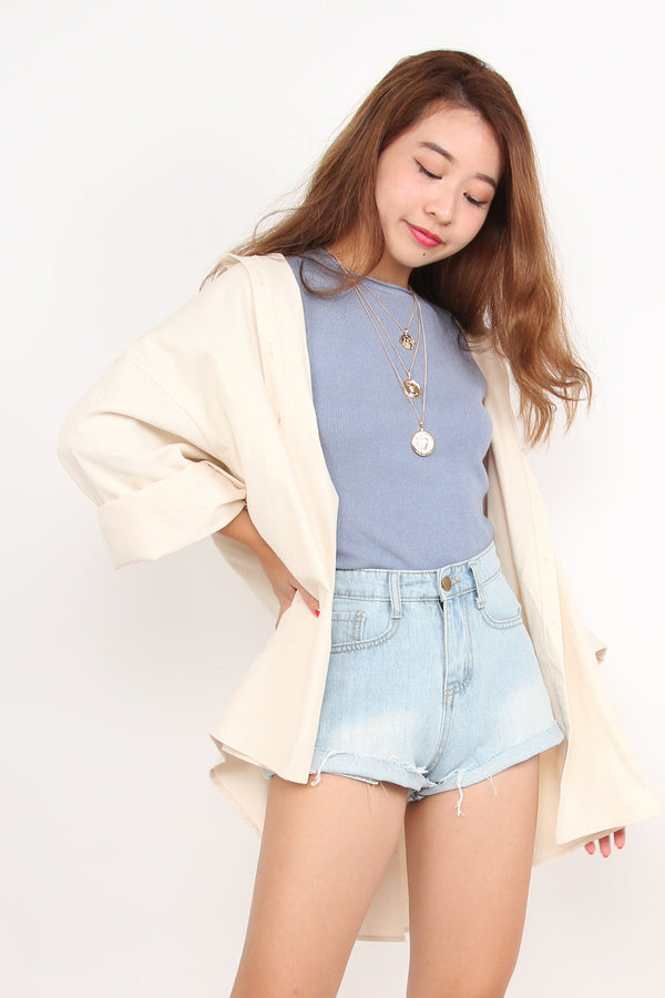 Relaxed Hoody Shirt (Cream)