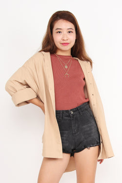 Relaxed Hoody Shirt (Nude)